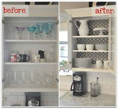 Kitchen Cabinets No Doors Kitchen Cabinet Wallpapered And No Doors For Open Look With Pop Of