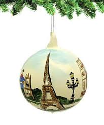 glass ornament painted eiffel tower arc