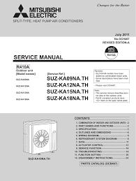 mitsubishi sez kd12na4 wiring diagram sez kd18na4 service manual
