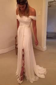 affordable bridal gowns shoulder side split wedding dresses 2017 custom