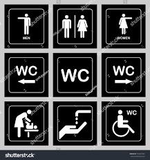 wc toilet door plate icons set stock vector 573351064 shutterstock