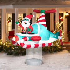 Animated Outdoor Christmas Decorations by Amazon Com Christmas Inflatable 7 U0027 Santa In Hovering Candy Cane