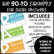 Response Cards Rap Short Answer Strategy Posters Reminders Checklists And