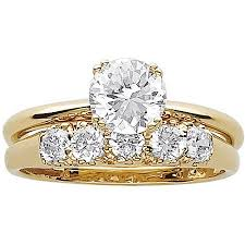 wedding rings gold 3 3 carat t g w cz 14kt gold plated wedding ring set walmart