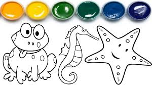 sea animals coloring pages learn colors for children coloring