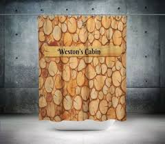 Unique Shower Curtains Personalized Shower Curtain Rustic Lodge Wood Look Shower