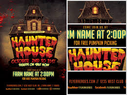 fall haunted house flyer template flyerheroes