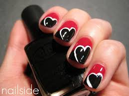 red and black color heart shape nail art designs trendy mods com