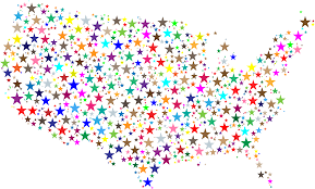 Uniteds States Map by Clipart United States Map Prismatic Stars 2