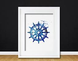 theme wall watercolor ships wheel gift modern 8x10 wall decor