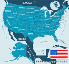 Usa Maps States by United States Usa Map Flag And Navigation Labels