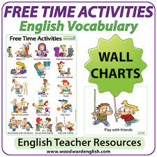 free time activities u2013 esl wall charts flash cards woodward