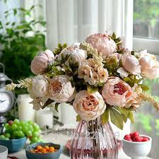Decorative Flowers For Home by Umiwe 13 Heads European Style Fake Artificial Peony Silk