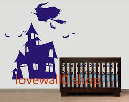 witch with broom flying on castle kid bird birds room house wall witch with broom flying on castle kid bird birds room house wall sticker art murals stickers decal decor removeable 598