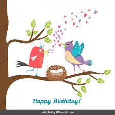 birds on tree branch birthday card vector free download