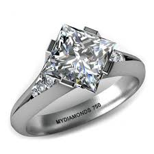 unique stone rings images Trinity gia princess cut engagement ring with a split band jpg