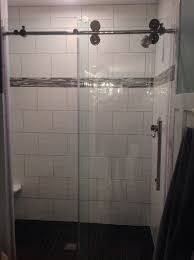 removed almond cultured marble shower added wavy white