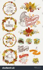 image happy thanksgiving vector collection thanksgiving design elements happy stock vector