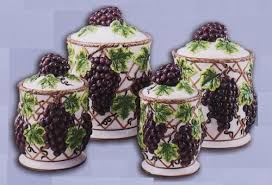 grape kitchen canisters amazon com grapes kitchen canisters set ceramic fruit theme home