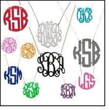 acrylic monogram necklace monogram necklace