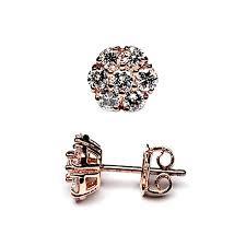 womens stud earrings diamond cluster flower stud earrings 14k gold 1 50 ct