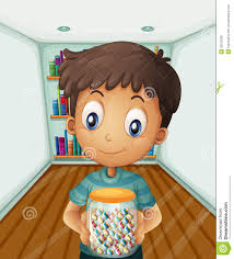 a boy holding a jar of candies in front of the bookshelves royalty