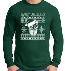 meowy christmas ugly sweater design cat loverlong sleeve t