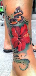 butterfly hibiscus flower design for on calf tattoos