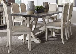 Trestle Dining Room Table by Willowrun Rustic White Trestle Dining Room Set From Liberty
