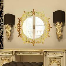 home decoration materials 3d stereo gold mirror wall stickers plastic acrylic materials wall