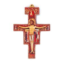 san damiano crucifix wood san damiano cross flat the catholic company