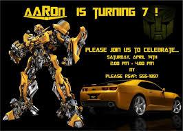 template classic transformer 2 birthday invitations bumblebee