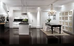 Dining Chandelier Ideas by Kitchen Modern Elegant White Kitchen Idea With Dining Area Over