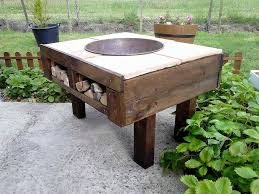 Wood Firepit Awesome Diy Pallet Pit Table With Firewood Storage 99 Pallets