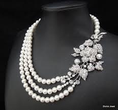 wedding necklace pearls images Bridal pearl necklace bridal rhinestone necklace ivory or white jpg