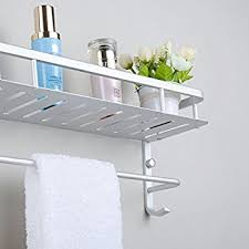 Bathroom Shelves With Towel Rack Tempered Glass Bathroom Shelf With Towel Bar Vdomus