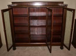 foot antique mahogany triple glass door bookcase