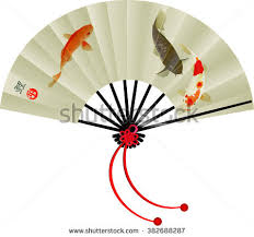 japanese fan vector illustration japanese fan koi fish stock vector 382688287
