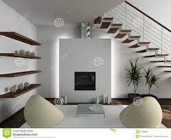 3d render modern interior of living room stock illustration