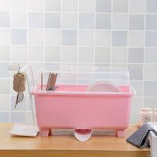useful kitchen 2 layers plastic dish drying rack with cover