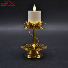 led tea lights with timer moving wick led tea light iron candle stand in gold color