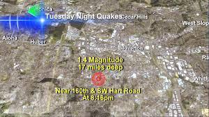 Earthquake Map Oregon by Tuesday Earthquakes Beaverton And Off The Oregon Coast Bruce