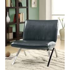 Black Leather Accent Chair Black Leather Look Chrome Metal Modern Accent Chair Free