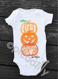 Halloween Baby Shirt My First Halloween Onesie Personalized Newborn Halloween Pumpkin