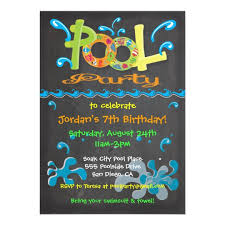 pool party invitations colorful chalkboard pool party invitations zazzle