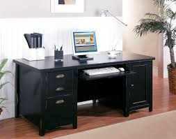 Black Office Desk Tribeca Loft Black Pedestal Computer Desk Desks