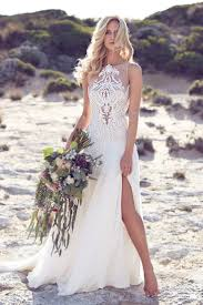 Summer Wedding Dresses Boho Flowy Chiffon Beach Wedding Dress With Lace Details Beach
