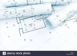 house blue print rolled architectural plans and technical drawings on house