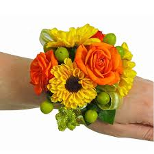 sunflower corsage roses mini sunflower wrist corsage cbccit02 flower patch