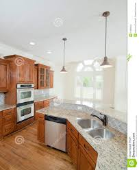model luxury home interior kitchen double sink stock photography